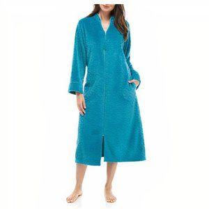 Miss Elaine  Fleece Long Zipper Robe- Teal NWT